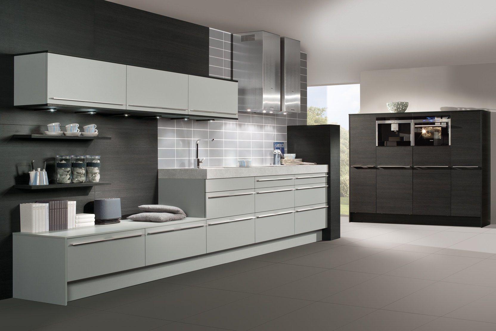 Home interior kitchen design cream kitchen cabinets black sleek grey
