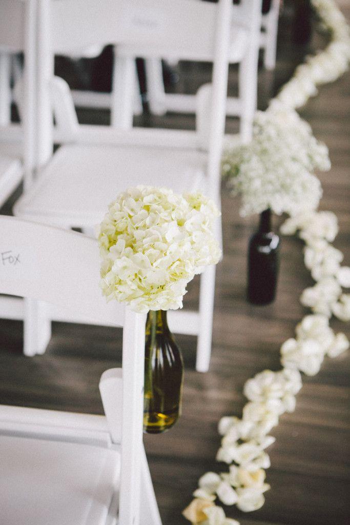 Wine Bottle With White Flowers Phoenix Scottsdale Wedding Ceremony Venue Aisle Decor The Clayton On Park