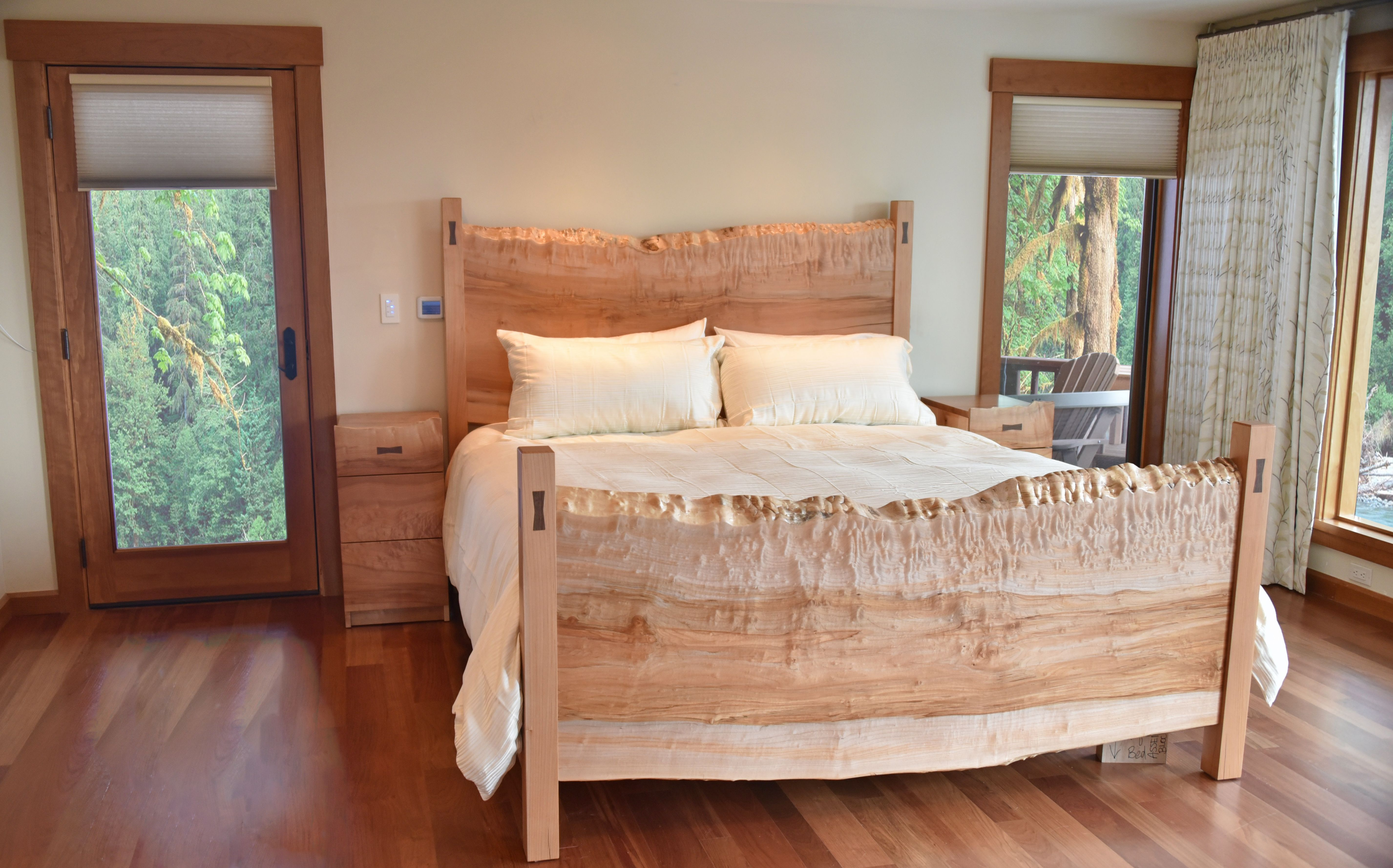 Custom west coast bedroom furniture with a natural edge by