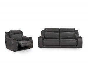 Hamilton Italian Gray Leather Reclining Sofa Modern Sectionals