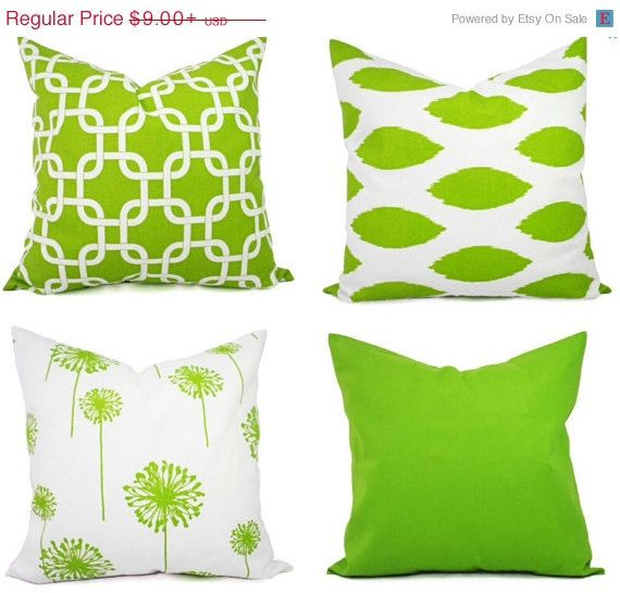 ON SALE Mix and Match Green Pillow by TwistedBobbinDesigns