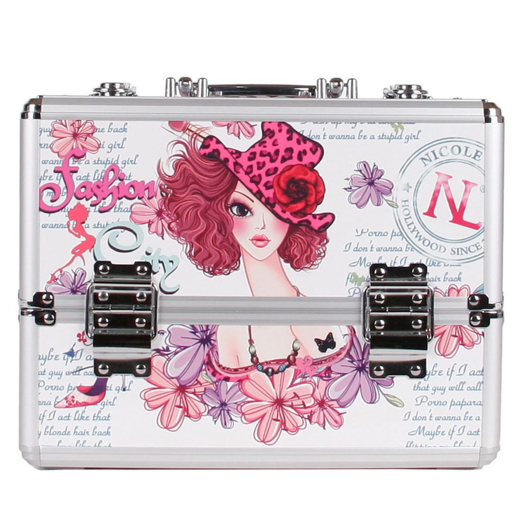 This Sunny White Priscilla cosmetic case from Nicole Lee is adorned