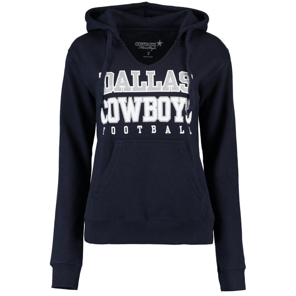 Dallas Cowboys Women's Navy Practice Glitter V-Notch Pullover Hoodie