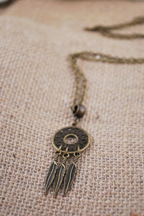 Dream catcher feather necklace boho hippie pendant by Estibela