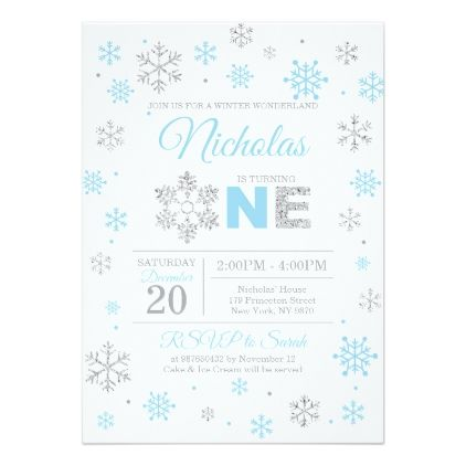 Blue Silver Winter Wonderland Birthday Invitation Winter