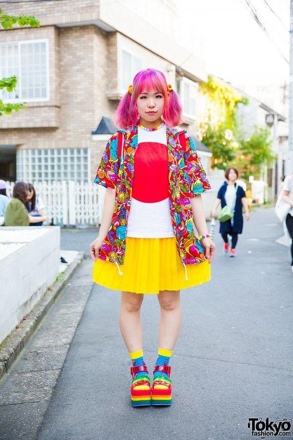 1e30c6d6b Colorful Harajuku style w/ Kinji hoodie jacket, Japan flag shirt, pleated  skirt…