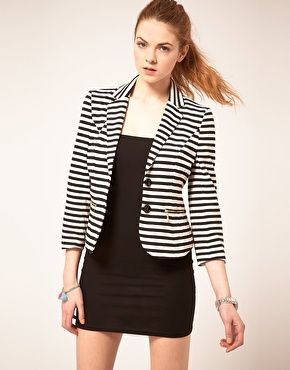 1cee63fd66 Black   White Striped Blazer
