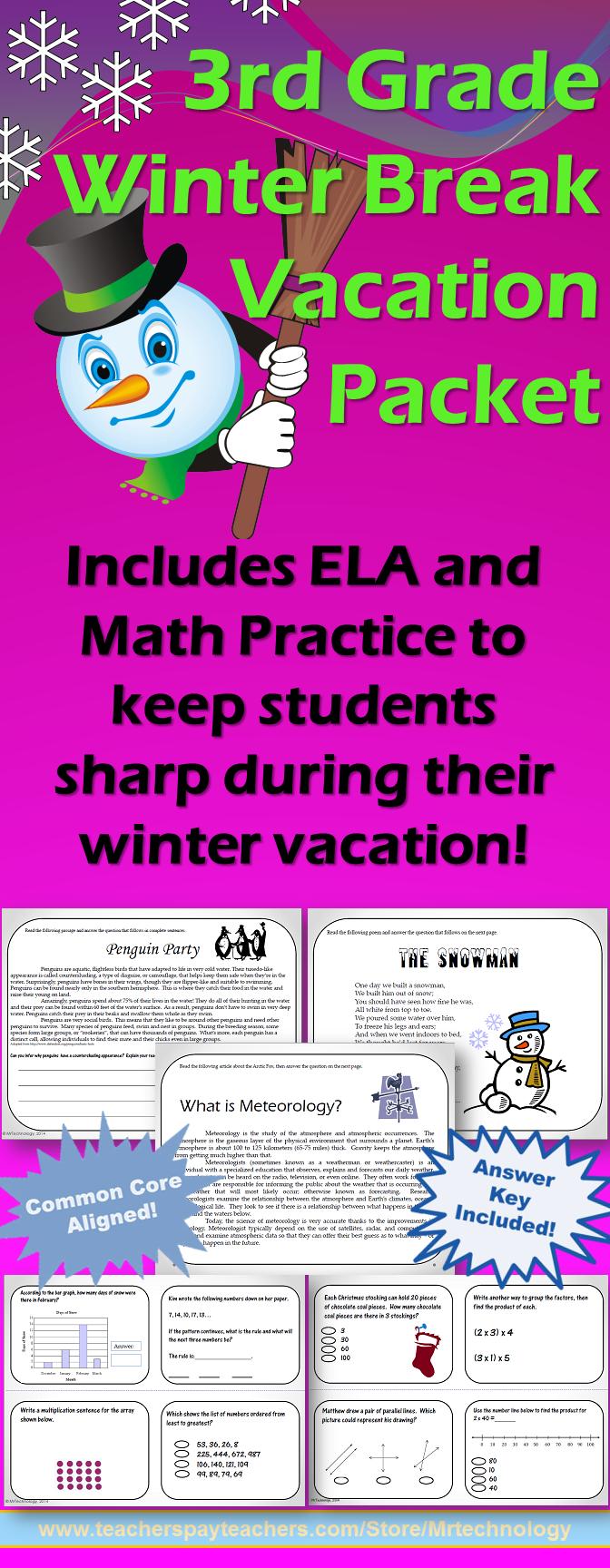 3rd Grade Winter Break Vacation Packet {CCSS Aligned ...