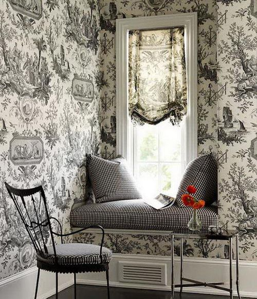 what a pattern in wall paper, sofa, pillows, etc!