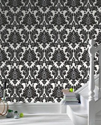 Majestic Black White Damask Wallpaper