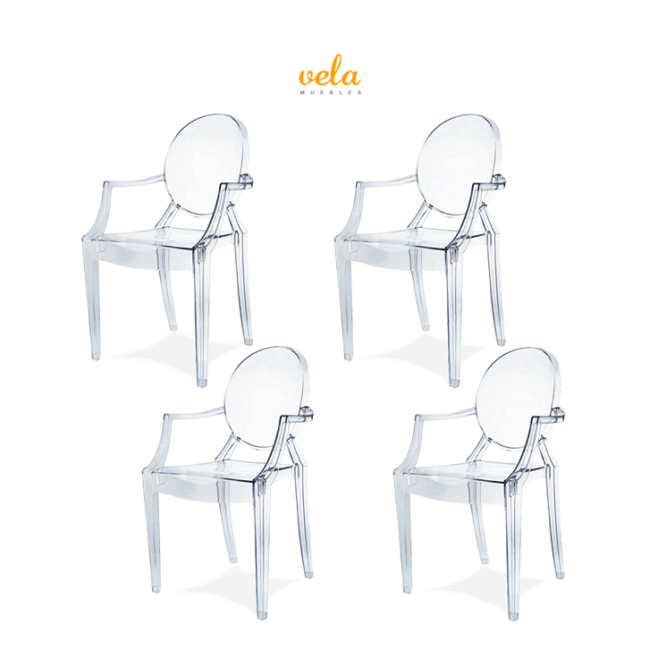 Juego de 4 sillas transparentes de policarbonato estilo Ghost ...