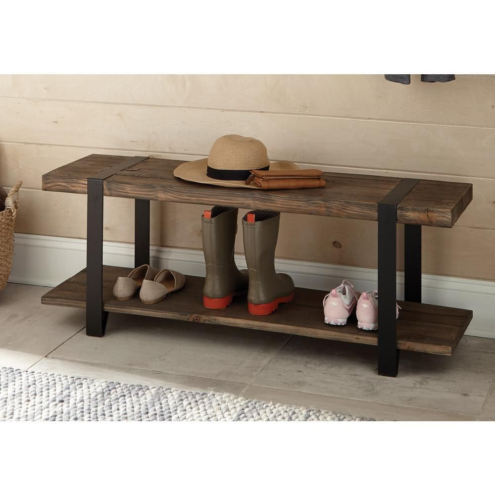 Modesto Rustic Natural Storage Bench In 2019 Home Bench
