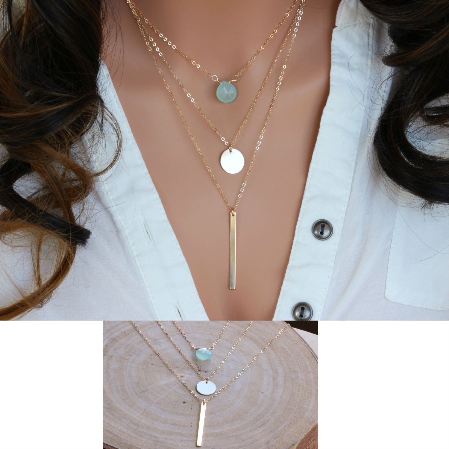 Silver  layered necklaces for women  Triple layered necklace  Multi strand Necklace is part of Layered necklace set, Gold necklace layered, Necklace set, Gold necklace, Layered necklaces, Womens necklaces - rainbowearring Thank You!!!