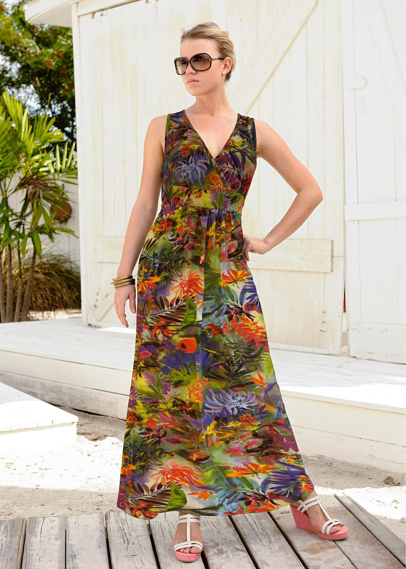 Vestido longo de malha amarelo-claro estampado encomendar agora na loja on-line bonprix.de  R$ 129,00 a partir de Cada pe�a � �nica! Formato levemente ...