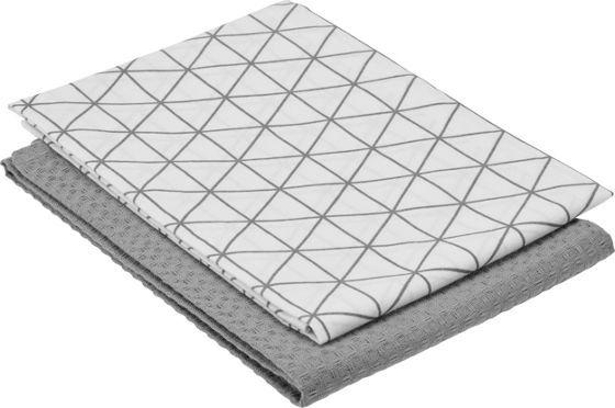 Trendiges Geschirrtuch aus Baumwolle in Grau - im günstigen 2-er Set