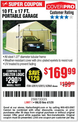 Coverpro 10 Ft X 17 Ft Portable Garage For 169 99 In 2020 Portable Garage Harbor Freight Tools Blowout Sale