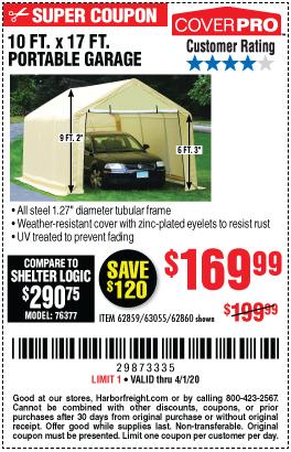 COVERPRO 10 Ft. X 17 Ft. Portable Garage for $169.99 ...