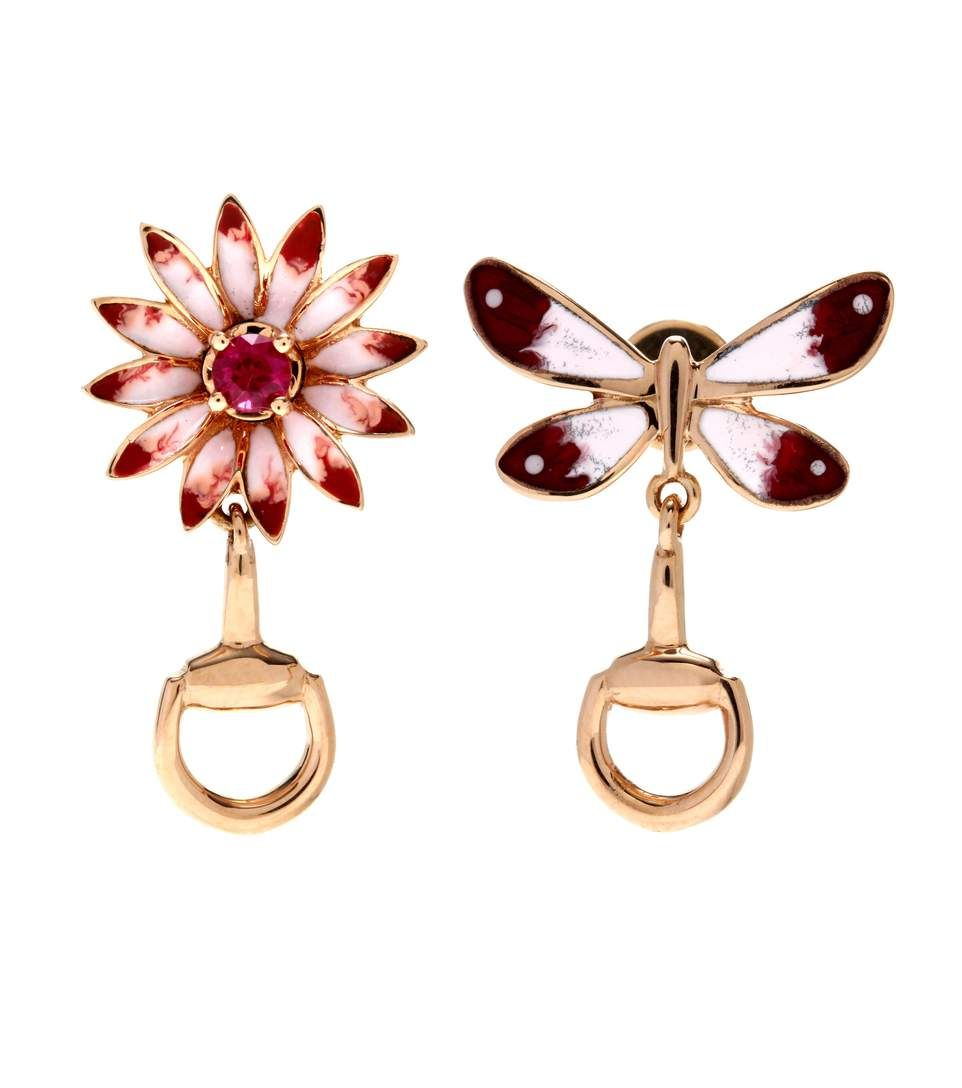 Gucci Flora earrings in rose gold with rubies