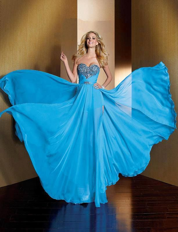 Blue Flowy Dress For Ladies Click the Picture to see more