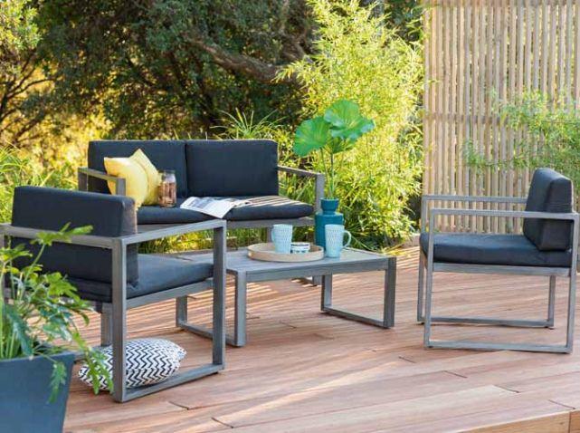 salon #jardin #design #bleu #gris #terrasse #parquet #bois #arbres ...