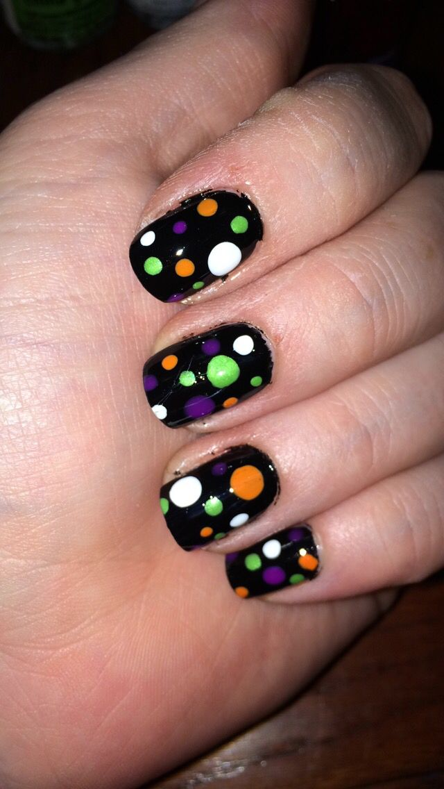 Black purple white orange green spot nail art. Halloween ...