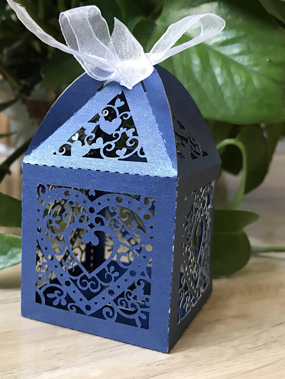 100pcs 6 9 5cm Navy Blue Wedding Favor Bo Laser Cut