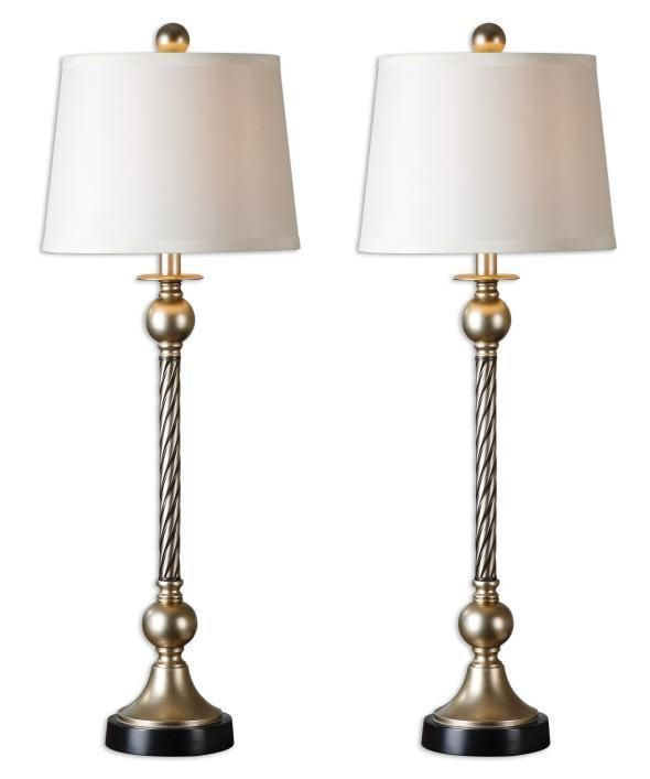 Sensational Set 2 Twisted Rope Table Lamp Antique Silver Pair Column Home Interior And Landscaping Elinuenasavecom