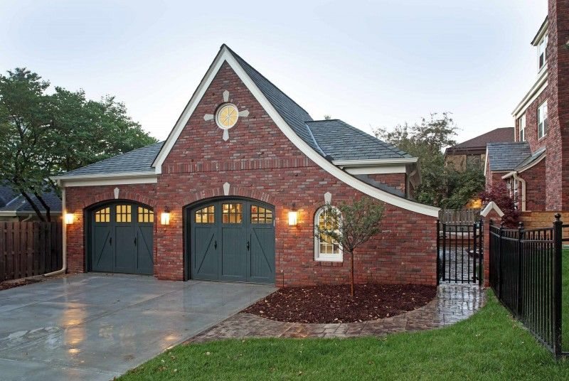 Dark Green Garage Wooden Garage Red Brick Wall Stone Walkway White Window Of Ingenious Ideas Of Dark Gara Red Brick House Garage Door Colors Garage Door Design