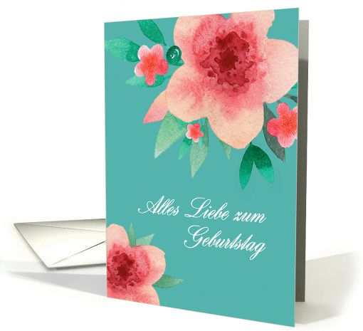 Happy Birthday In German Bright Flowers Card Birthday Cards