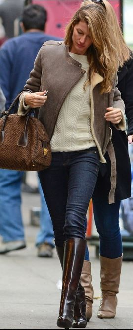 Who Made Gisele Bundchen S Boots White Sweater Blue Skinny Jeans