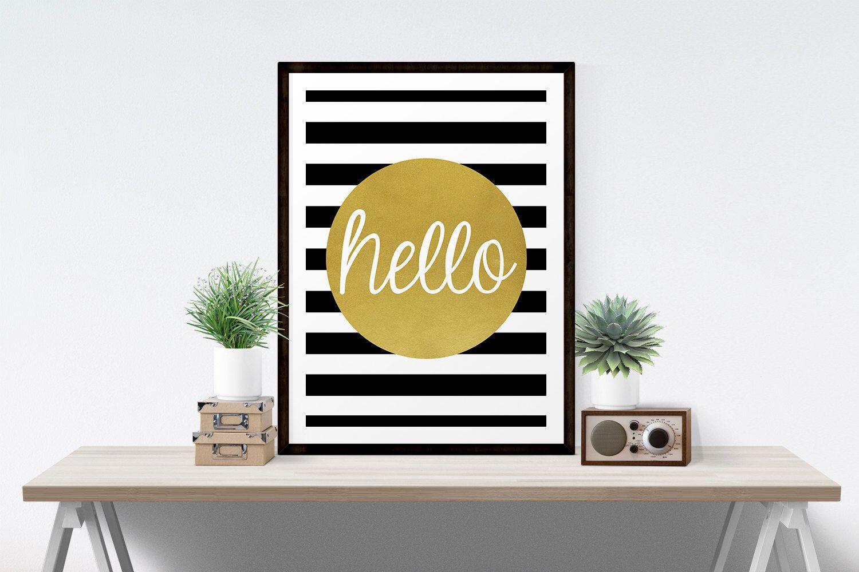 Hello Sign, Hello Poster, Hello Printable, Hello Wall Art, Black ...