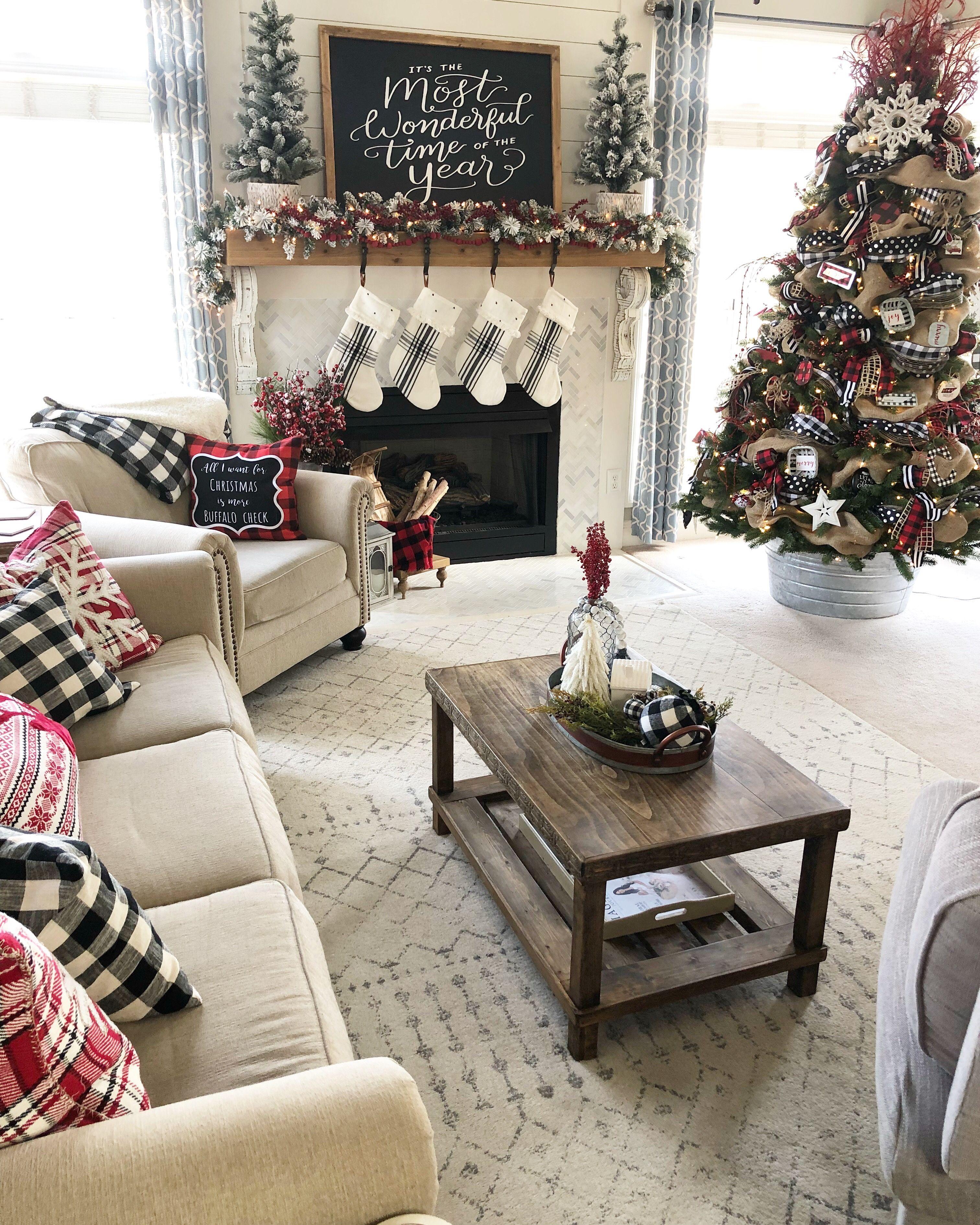 Christmas Home Tour Buffalo Check And Plaid Living Room With Tree With R Christmas Decorations Living Room Christmas Fireplace Decor Cozy Christmas Living Room