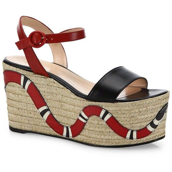 9fda3ee59ea7a Gucci Barbette Snake Leather Espadrille Platform Wedge Sandals ( 850) ❤  liked on Polyvore featuring shoes