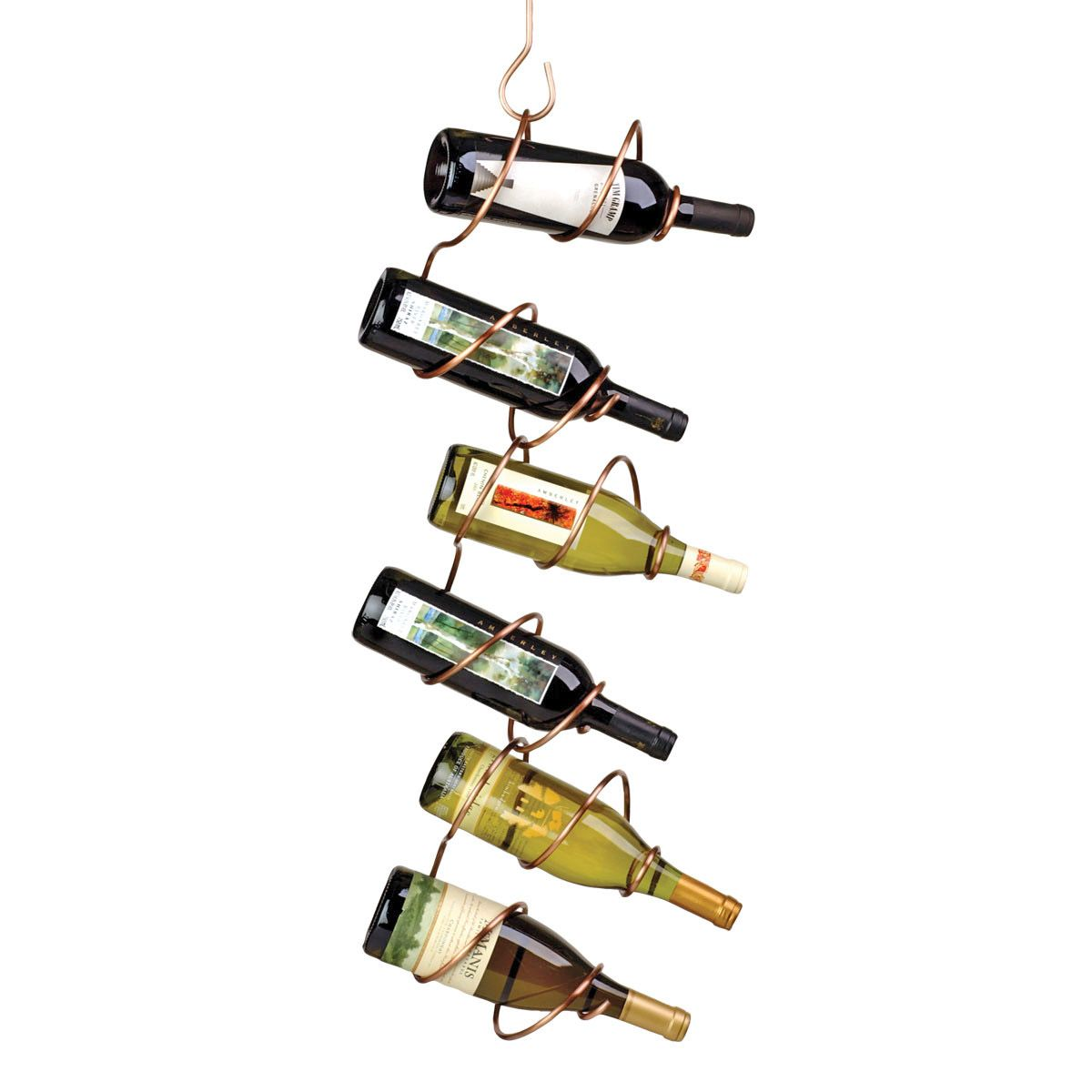 The Climbing Tendril Wine Racks Designed By John Amero Comes With A Copper Bronze Or Black Finish Hanging Wine Rack Wine Rack Copper Wine Rack