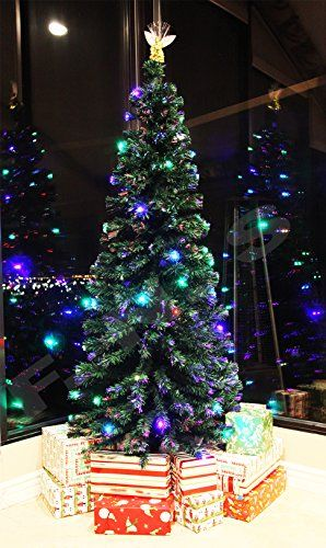 8 FT Prelit Fiber Optic Multi Color LED Lights Artificial Christmas
