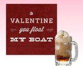 "DIY Printable Valentine Card // You Float my Boat // 5"" x 5"" Valentine // Instant Download"