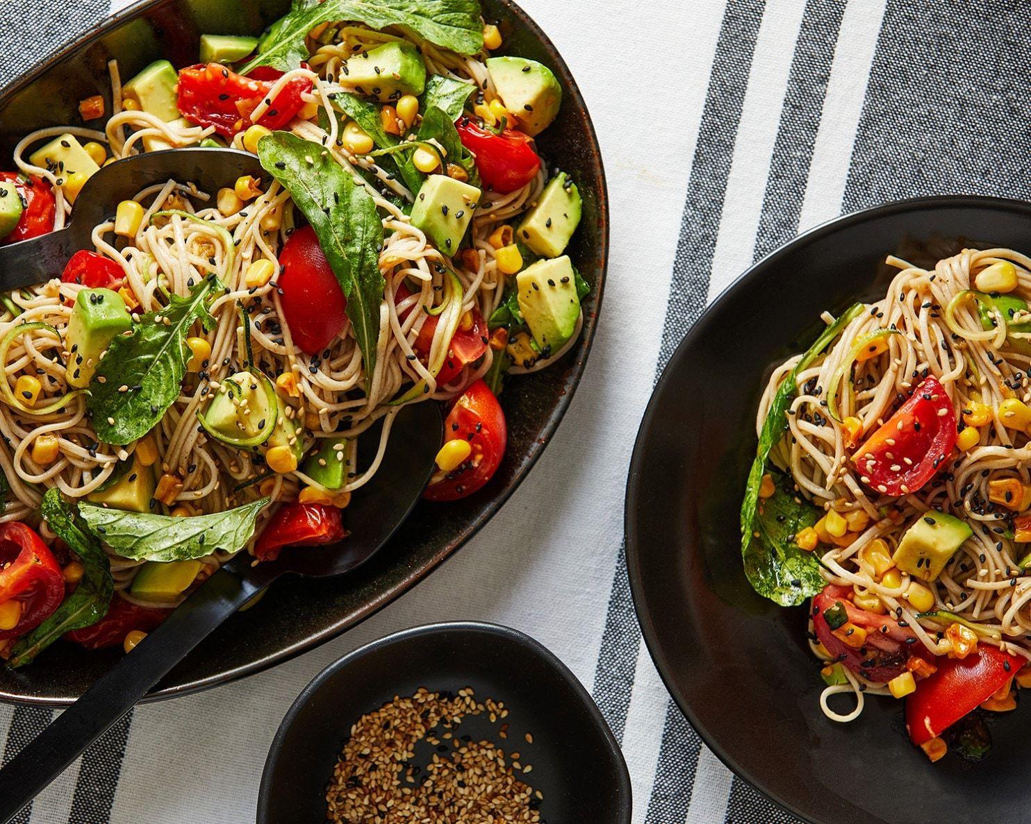 Summer Noodle Salad With Ginger Garlic Dressing Recipe Soba Noodles Pasta Salad Noodle Salad Recipes