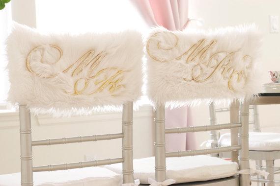White Fur Chiavari Chair Caps with Rhinestone Mr./ bride and groom/ wedding decor/ wedding ideas/ chair cover/ winter wonderland & White Fur Chiavari Chair Caps with Rhinestone Mr. and Mrs./ bride ...