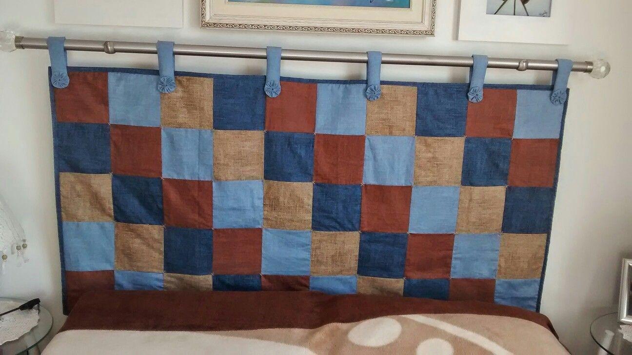 Cabeceira para cama box feita em patchwork.