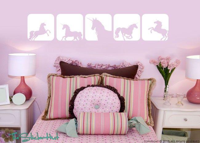 unicorn decor | unicorn horse squares girls toddler infant room