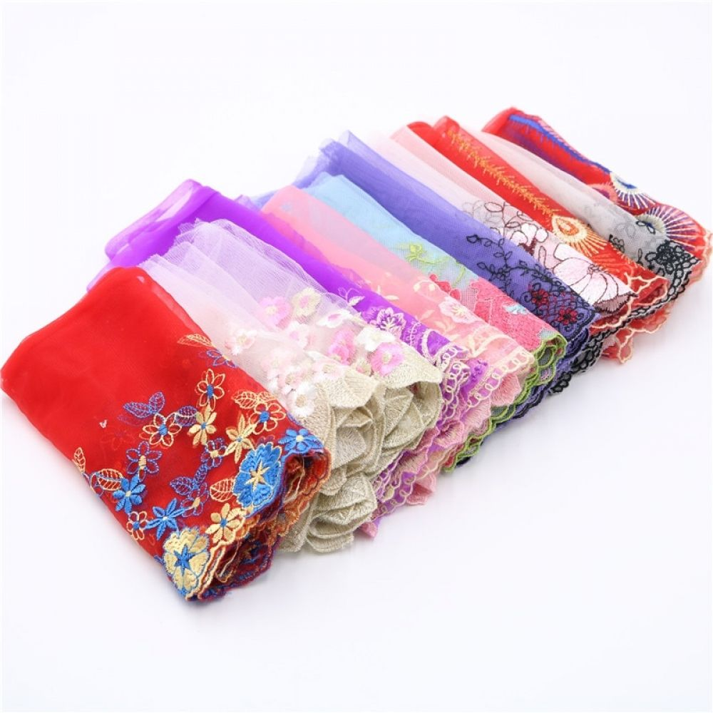 17 Styles Multi Colour Elastic Embroidery Flower Floral