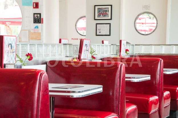 American Diner Interior Design Red Vinyl Booths Metal Edged