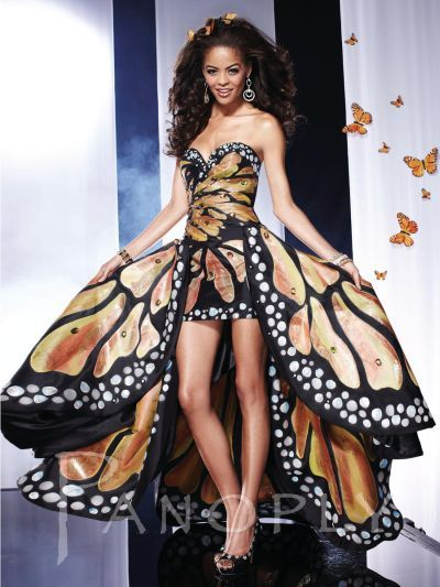 Hand Painted Monarch Butterfly Prom Dress