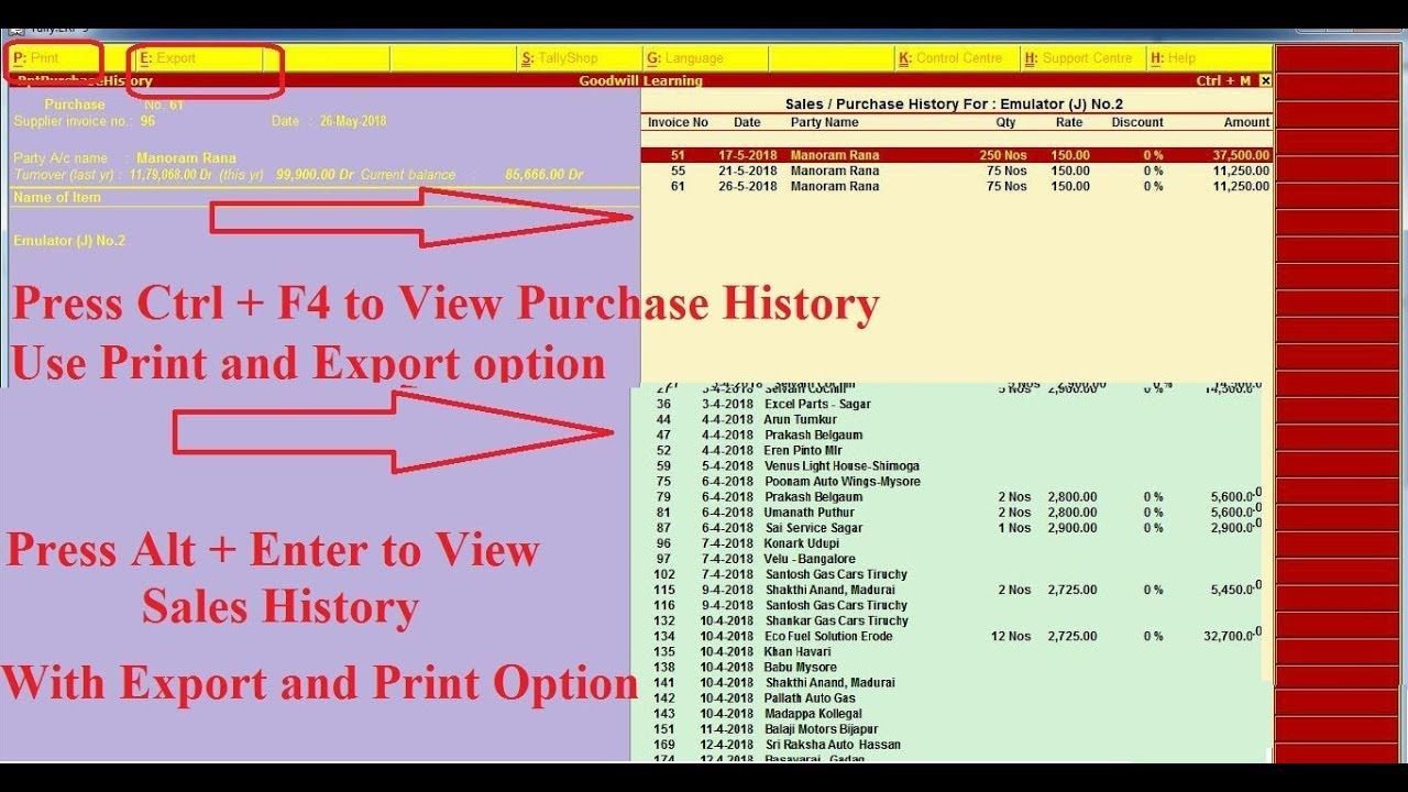 Tally TDL to View item Purchase and Sales History - Tally Add on to