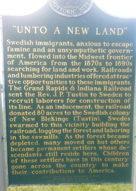The history of Tustin, MI - formerly known as The Colony of New Blekinge & the Swedish Immigrants who settled there.