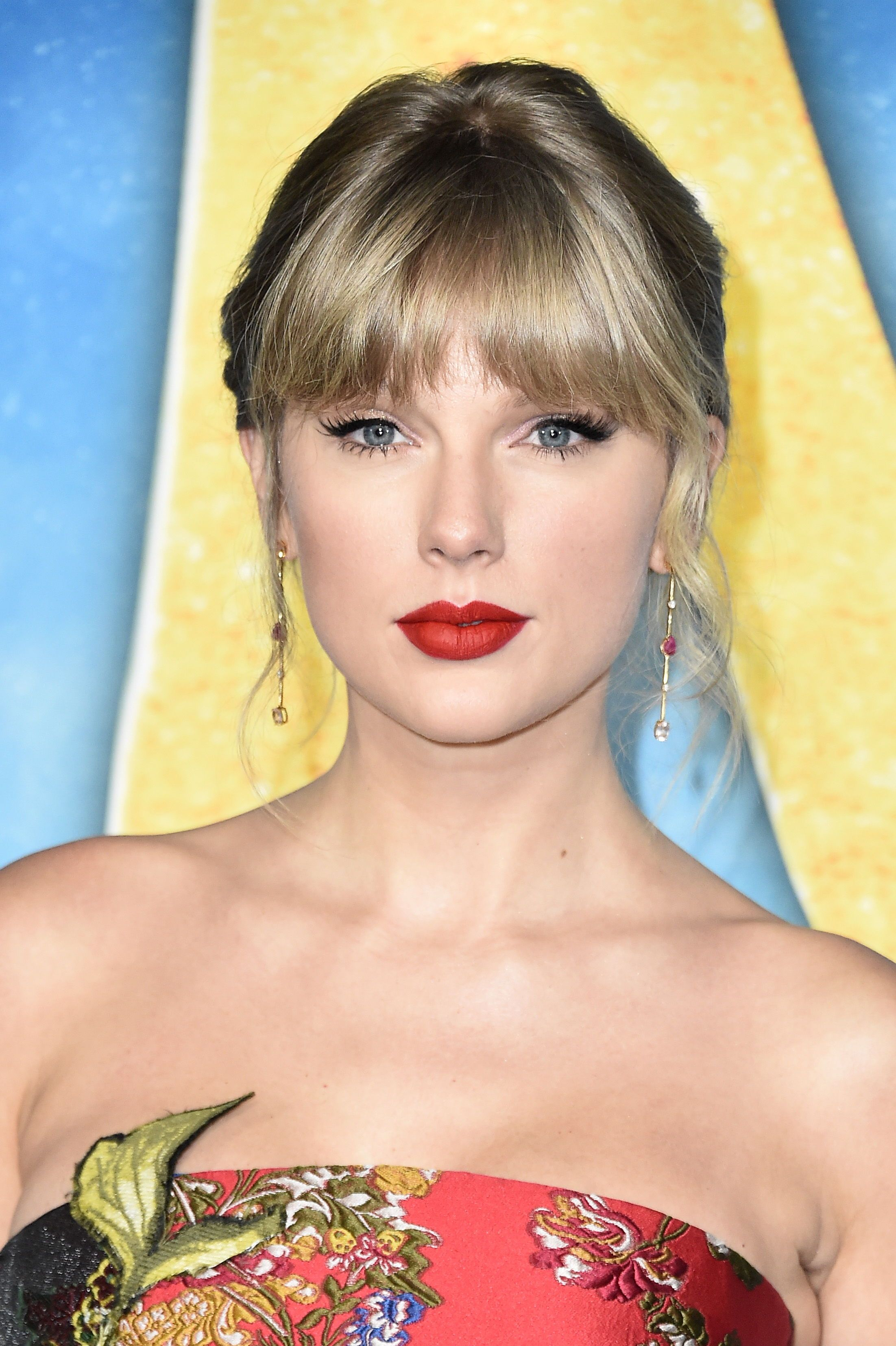 Closeup of Taylor Swift at the 2019 New York premiere of