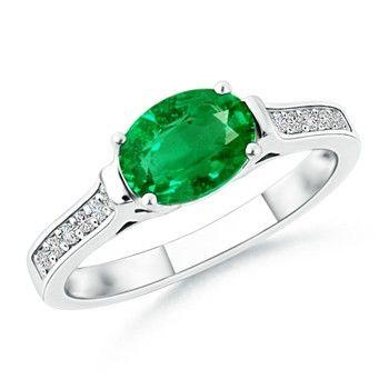 Angara Oval Emerald Ring with Diamond Wedding Band Set in White Gold DeYugc