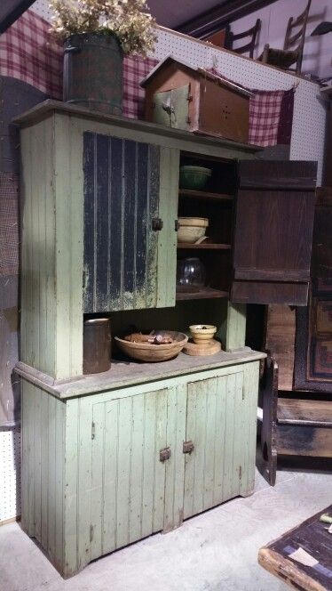 Early farm canning cupboard green paint for sale at route for What kind of paint to use on kitchen cabinets for route 66 wall art