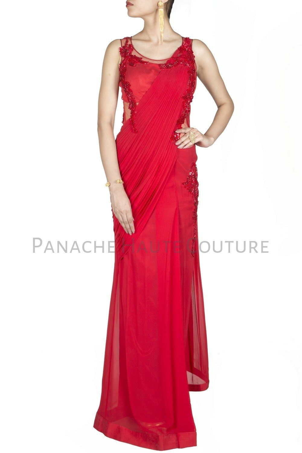 Red Colour Chiffon Designer Saree Gown Online | Red color, Saree and ...