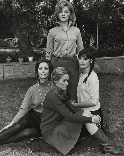 Claudine Auger (left), Ursula Andress (middle), Marisa Mell (right) and Virna Lisi (top), 1967